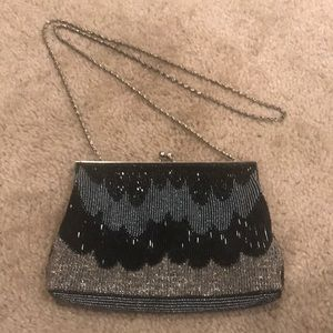 Scalloped Beaded Purse with Shoulder Strap
